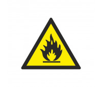 Знак безопасности W01 Пожароопасно.Легковоспл.в-ва (плёнка,200х200)