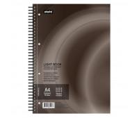 Бизнес-тетрадь 100л,кл,А4,LightBook,спираль,обл.корич,блок белый 70г/м