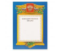 Благодарственное письмо А4-09/БП син.рамка,герб,трик230г/кв.м
