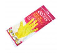 Перчатки латексные резиновые HOUSE HOLD GLOVES размер L, желтые