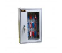 Шкаф для ключей Klesto SKB-24 на 24 ключа, серый, металл/стекло