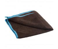 Салфетка для маркерных досок микрофибра чёрная с синим краем 30х30 см пакет