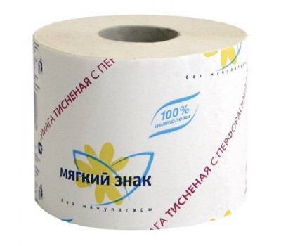 Бумага туалетная 1-сл.Мягкий знак белая с  тисн.51м c28 72рул./уп.